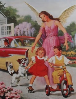 1950s VINTAGE POSTCARD Angel with Children On Bike and Dog